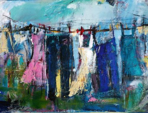 Frühling auf der Wäscheleine – 120 x 80 cm