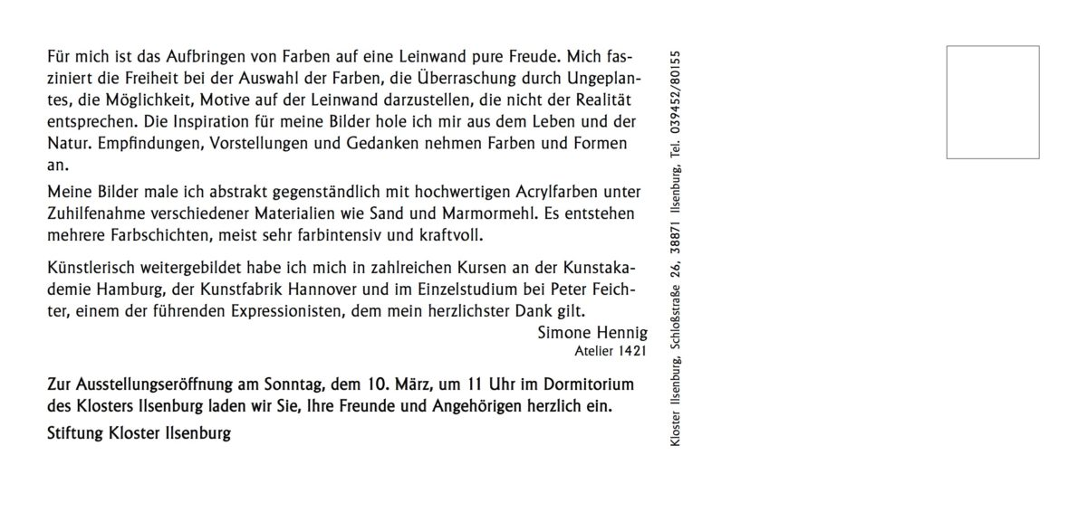 Einladung Vernissage Simone Hennig Kloster Ilsenburg_s2